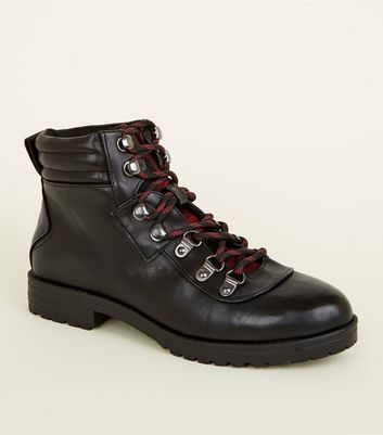 Girls Black Leather-Look Lace Up Boots