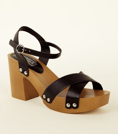 f0d85e9c925 ... Black Wooden Platform Heeled Sandals ...
