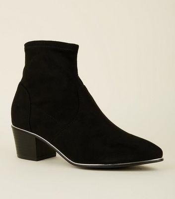 Black Suedette Metal Trim Sock Boots