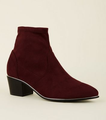 Girls Dark Red Suedette Metal Trim Sock Boots