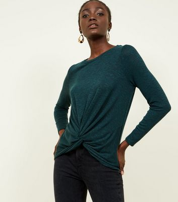 Dark Green Fine Knit Twist Front Top
