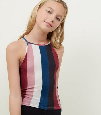 Girls Multicoloured Stripe Glitter Cami