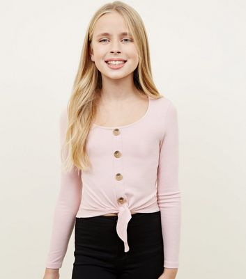 Girls Pale Pink Ribbed Button Tie Front Top