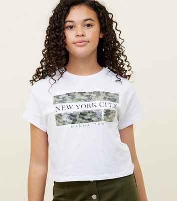 Girls White New York Camo Sequin Box T-Shirt