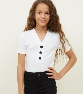 Girls Off White Button Placket Ribbed T-Shirt