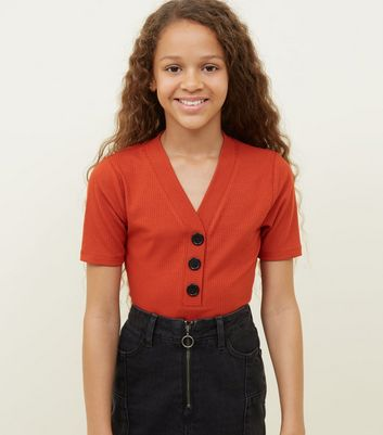 Girls Orange Button Placket Ribbed T-Shirt