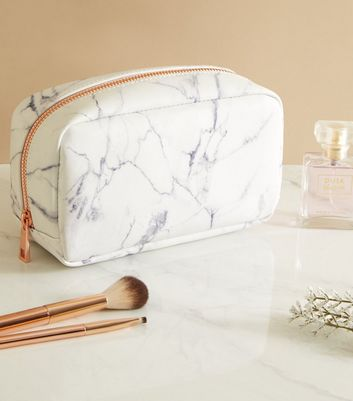 Off White Marble Effect Make Up Bag