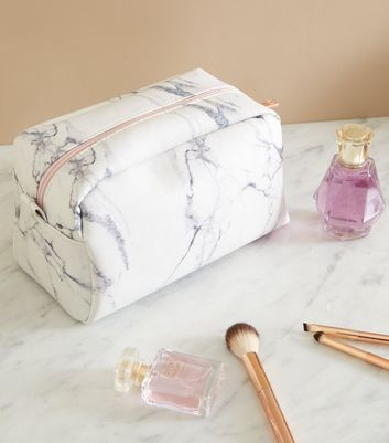 Off White Marble Effect Large Make Up Bag