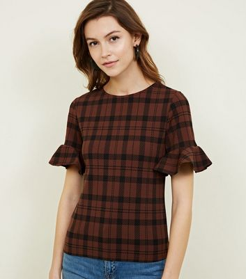 Brown Check Frill Sleeve T-Shirt