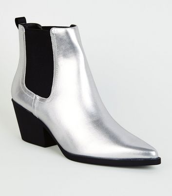 Silver Pointed Western Chelsea Boots