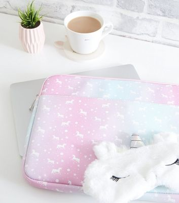 "Pink Ombré Unicorn Print 15"" Laptop Case"