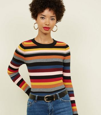 Rainbow Stripe Crew Neck Jumper