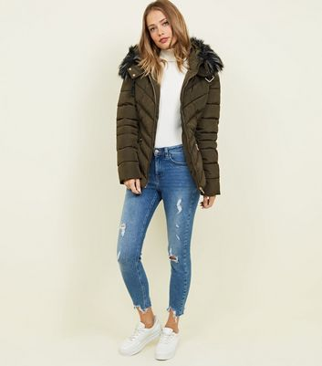 Cameo Rose Khaki Belt Puffer Jacket