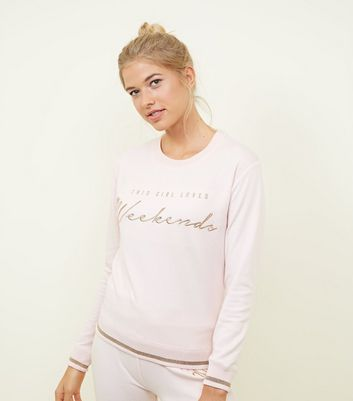 Tall Pink Weekends Slogan Pyjama Sweatshirt