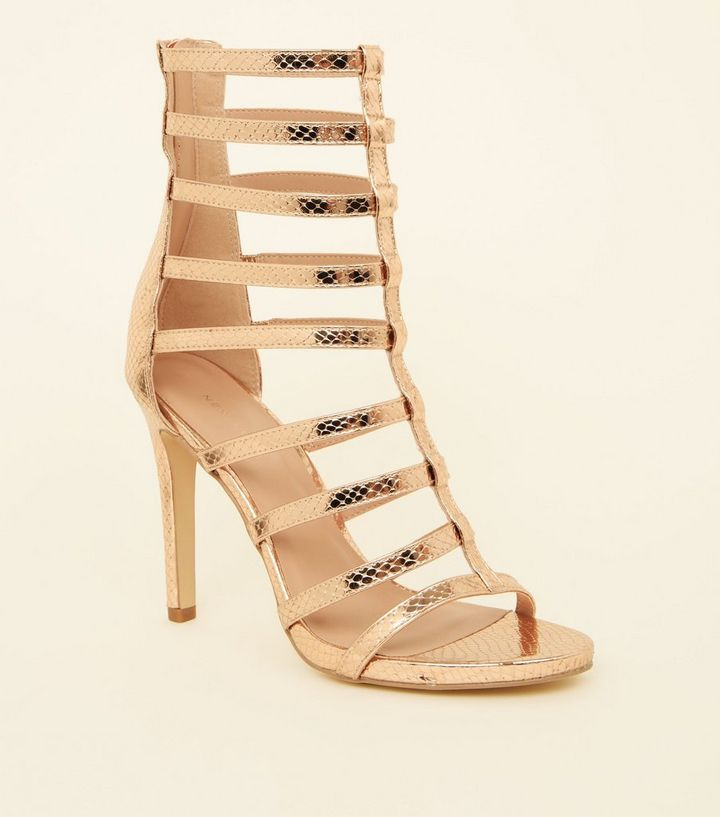 6b9a2ffcaf5 Rose Gold Faux Snake Stiletto Gladiator Sandals | New Look