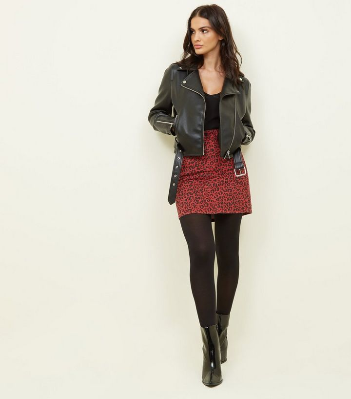 preview of best first rate Red Leopard Print Mini Skirt Add to Saved Items Remove from Saved Items
