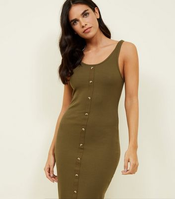 Khaki Ribbed Button Front Midi Dress