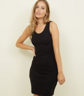 Black Ribbed Bodycon Mini Dress