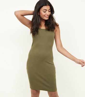 Khaki Rib Sleeveless Bodycon Mini Dress