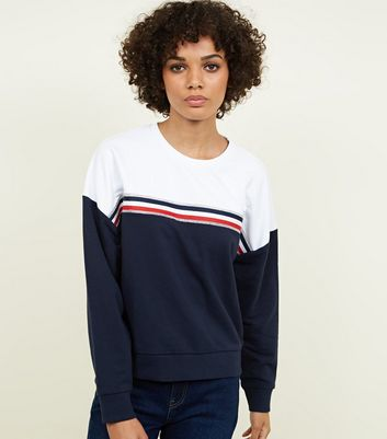 Blue Diamanté Tape Colour Block Sweatshirt