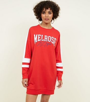 Red Melrose Slogan Longline Sweatshirt