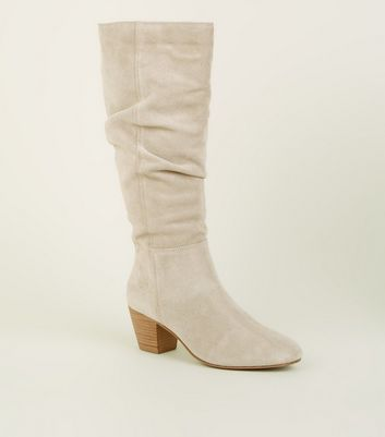 Off White Suede Knee High Western Boots