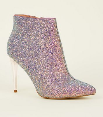Purple Glitter Metal Heel Ankle Boots