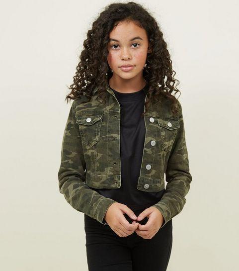 ... Girls Green Camo Print Denim Jacket ... c095d8d504