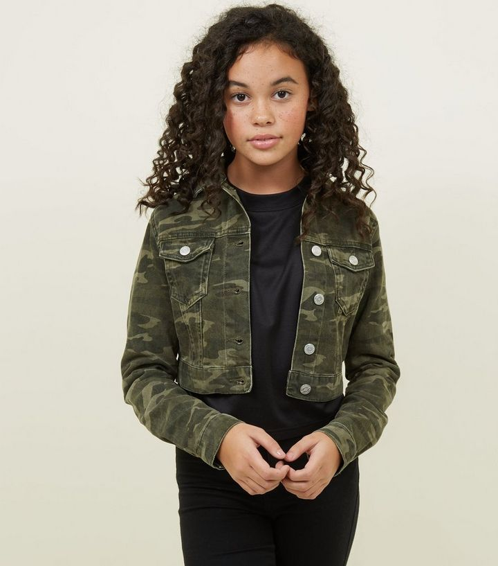 a54c8d3c7d4b2 Girls Green Camo Print Denim Jacket | New Look