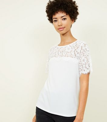 Off White Lace Yoke Short Sleeve Top