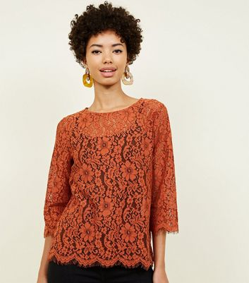 Rust Lace 3/4 Sleeve Zip Back Top