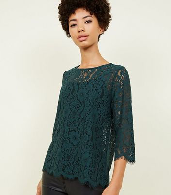 Dark Green Lace 3/4 Sleeve Zip Back Top