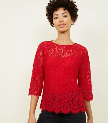 Red Lace 3/4 Sleeve Zip Back Top