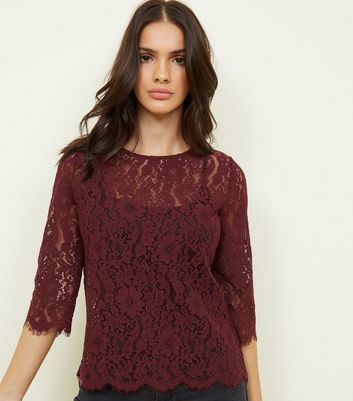 Burgundy Lace 3/4 Sleeve Zip Back Top