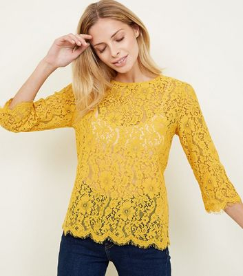 Mustard Lace 3/4 Sleeve Zip Back Top