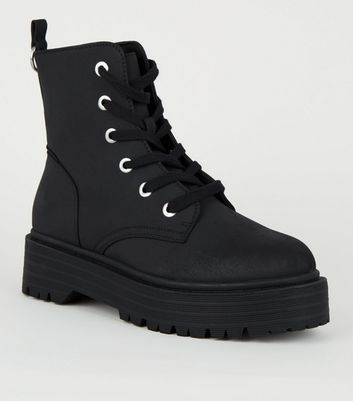 Black Suedette Chunky Cleated Sole Lace-Up Boots