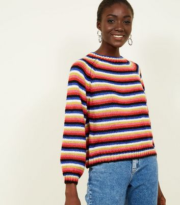 Rainbow Stripe Balloon Sleeve Jumper