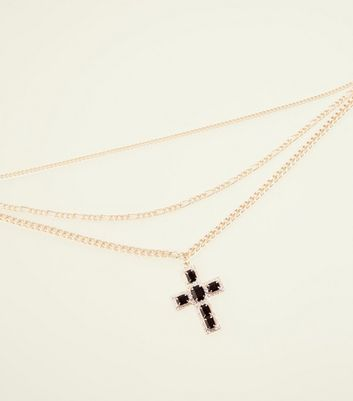 Gold Chain and Black Cross Pendant Necklace
