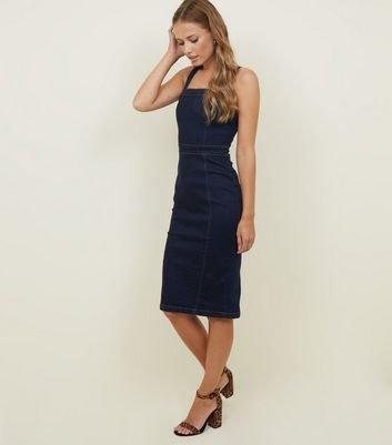 Parisian Indigo Denim Bodycon Midi Dress
