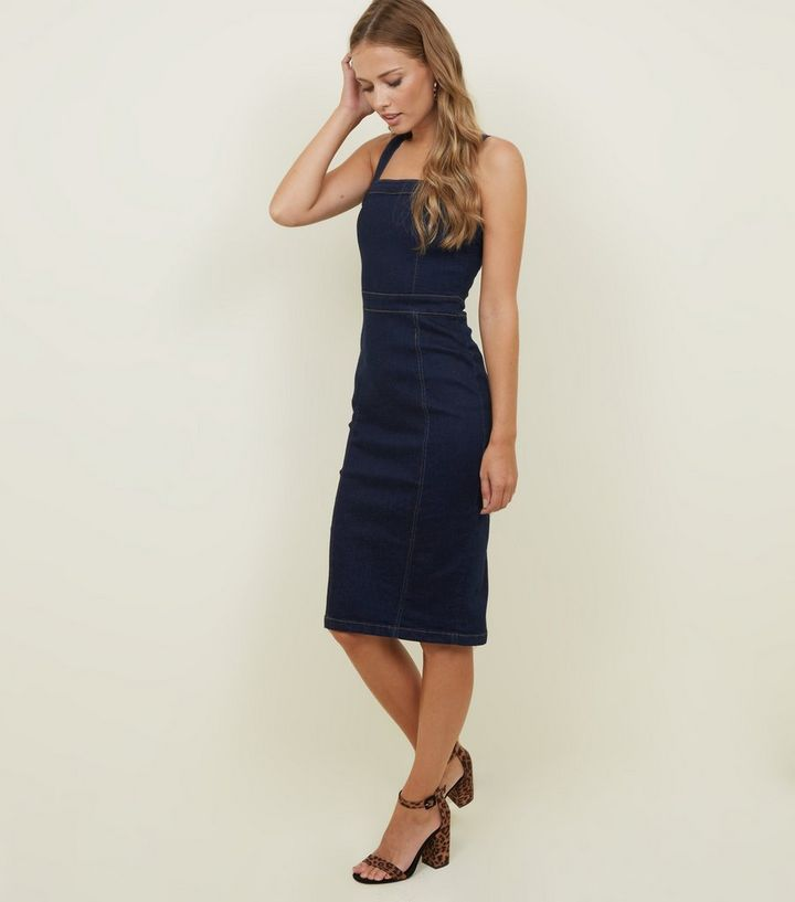 6d9408e4b6 Parisian Indigo Denim Bodycon Midi Dress