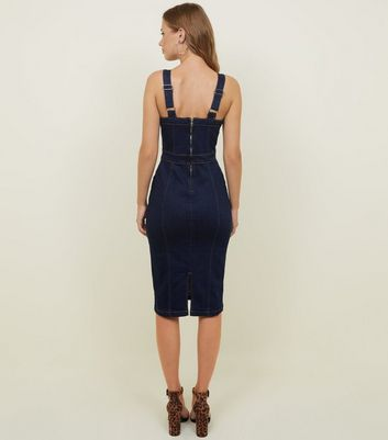Parisian Indigo Denim Bodycon Midi Dress New Look