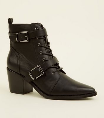 Black Lace Up Buckle Strap Western Boots
