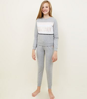 Girls Grey Sunday Slogan Colour Block Pyjama Set