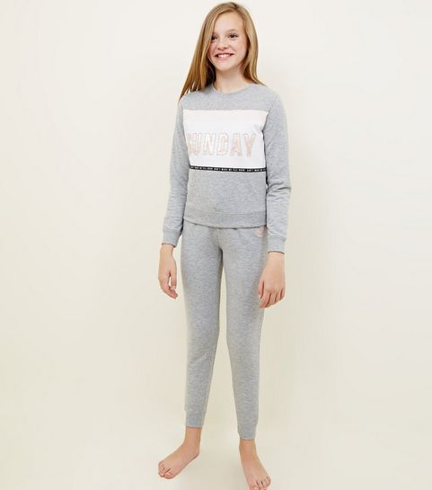 ... Girls Grey Sunday Slogan Colour Block Pyjama Set ... 67e93d33df