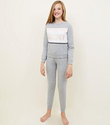 Girls Grey Sunday Slogan Colour Block Pyjama Set by New Look