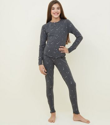 Girls Grey Glitter Star Print Pyjama Set