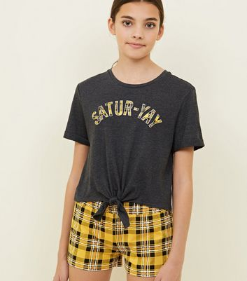 Girls Grey Satur-Yay Check Slogan Pyjama Set