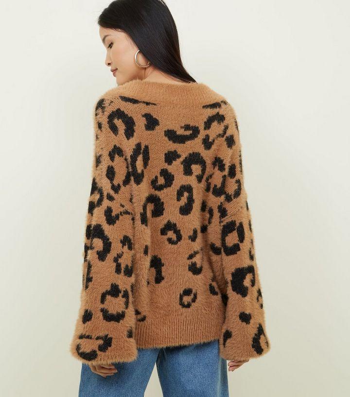 39250237c11d5f Brown Leopard Print Fluffy Knit Jumper | New Look