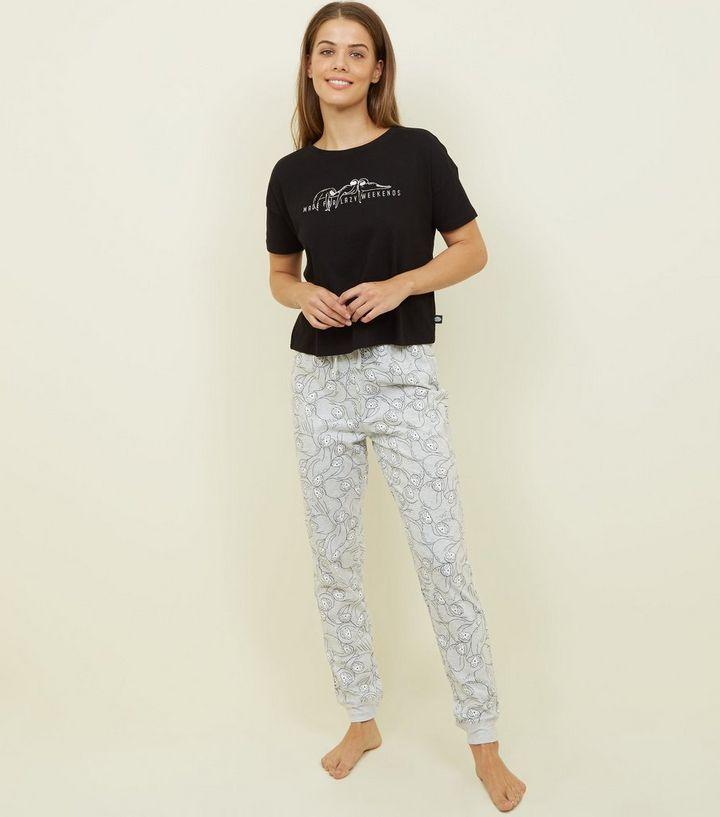 16ad37d6a Black Lazy Sloth Slogan Pyjama Set