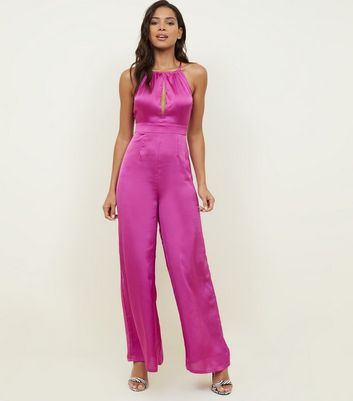 Pink Satin Halterneck Open Back Jumpsuit